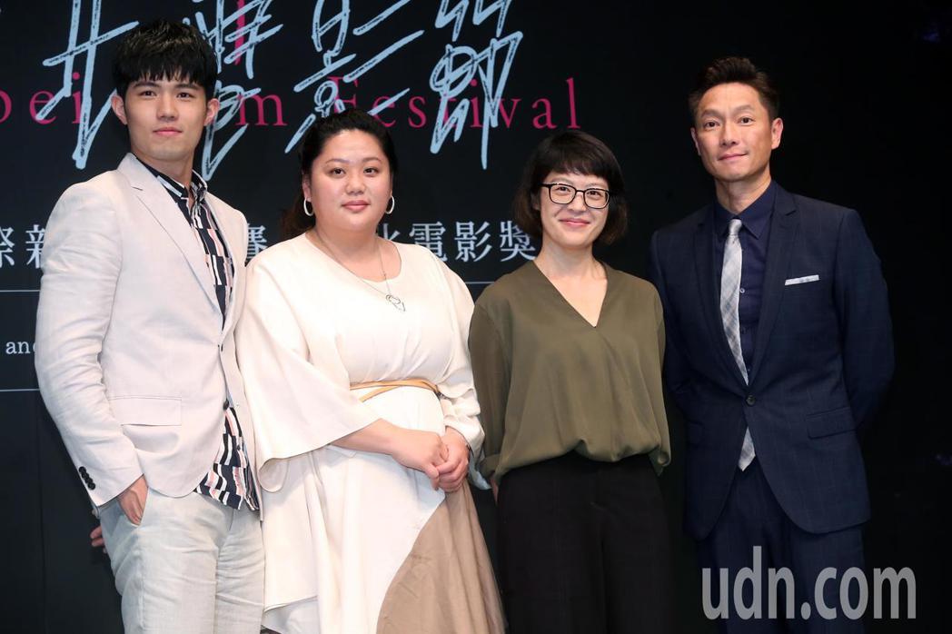 入選國際新導演競賽的台灣電影《大餓》劇組人員張耀仁(左起)、蔡嘉茵、導演謝沛如、...