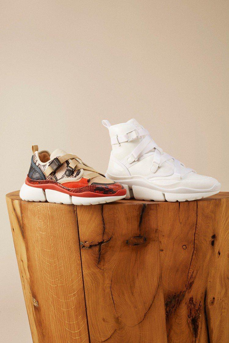(左起)Sonnie仿蛇紋皮革低筒老爹鞋,價格店洽;純白色高筒老爹鞋,價格店洽。...