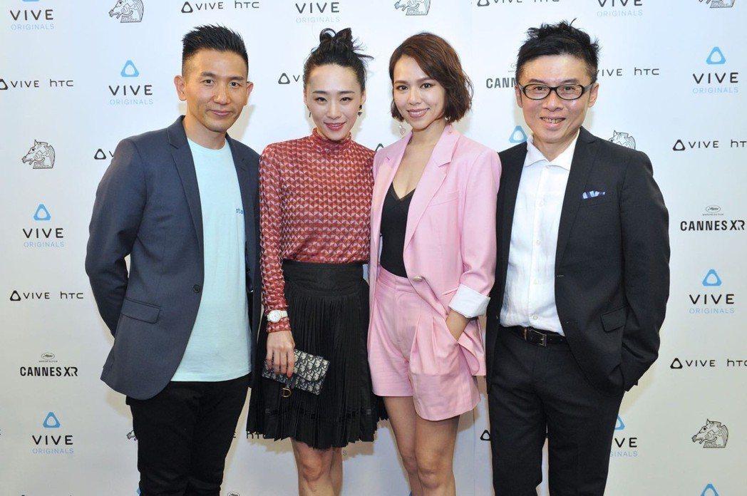 VR電影「5x1」坎城首映會上導演趙德胤(左一)、出品人劉思銘(右一)出席,吳可...
