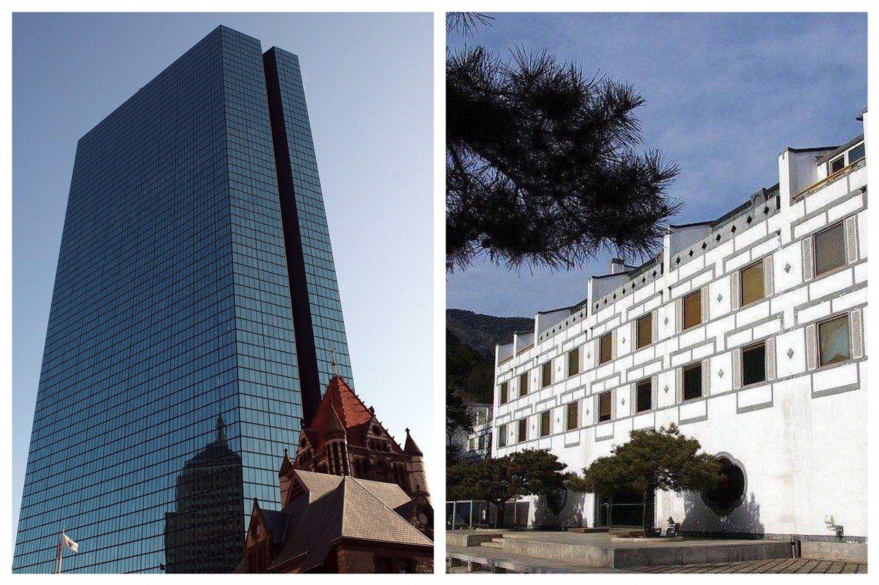 美國波士頓漢考克大廈(左)與北京香山飯店,是貝聿銘心中永遠的痛。 (法新社、取自...