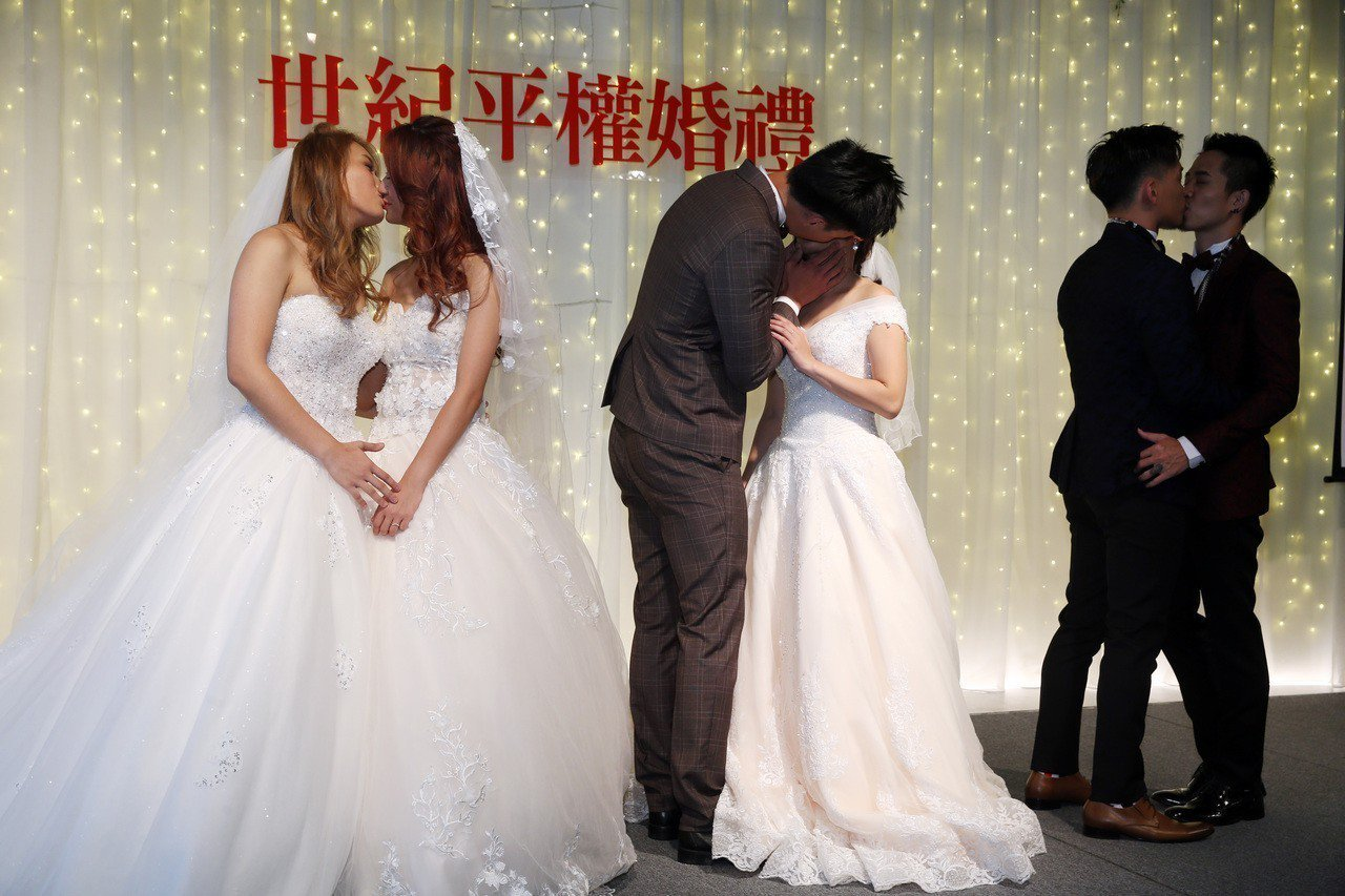 同婚專法通過後的首場性別平權婚禮,昨天在台北舉行。 記者曾吉松/攝影