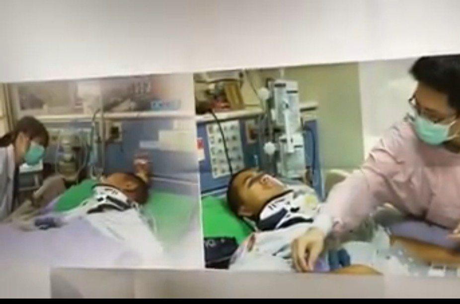 童綜合醫院拍攝的傘兵秦良丰重生周年紀念片。圖/童醫院提供