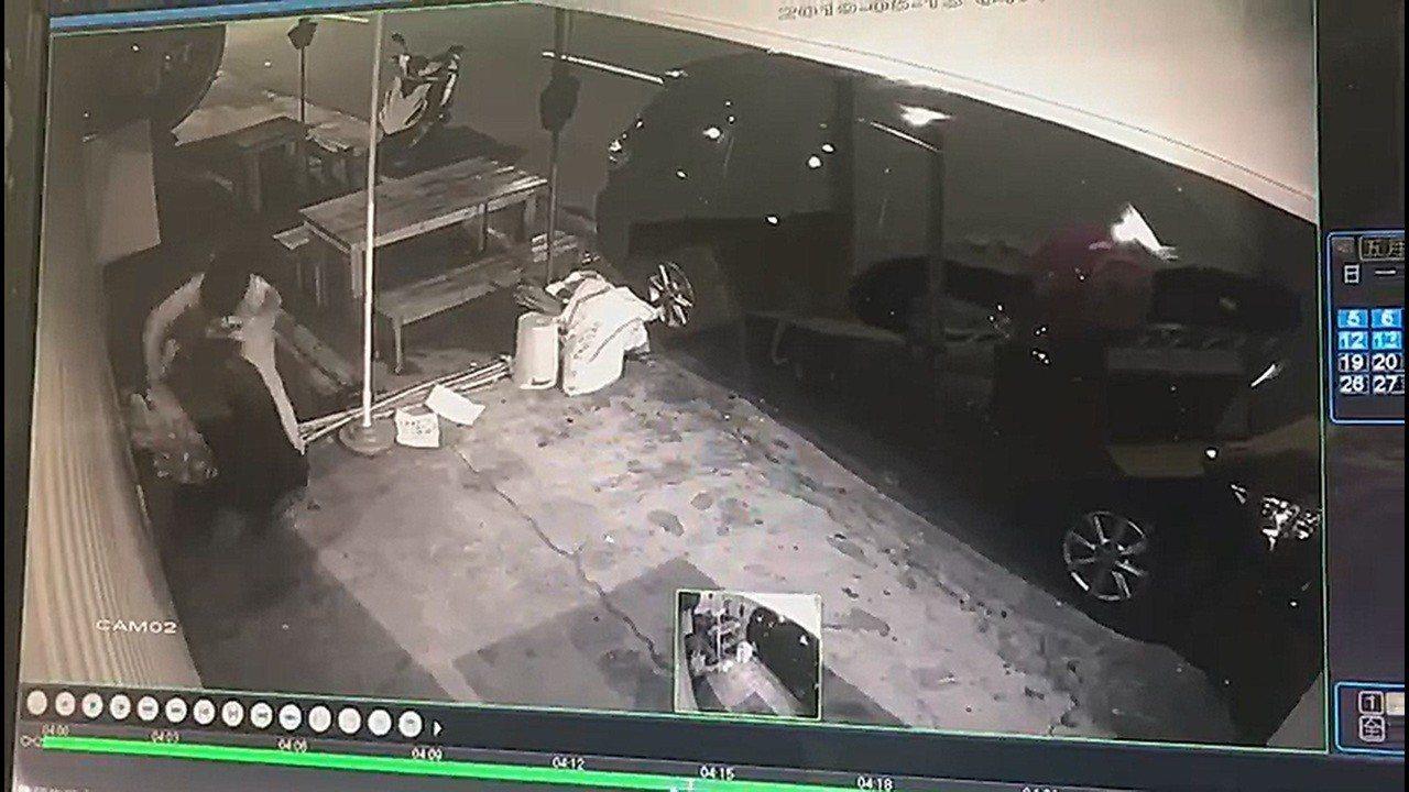 台中市太平區一家飲料店正要開幕營業,未料門前一株金錢樹盆栽,被一頭戴全罩式安全帽...