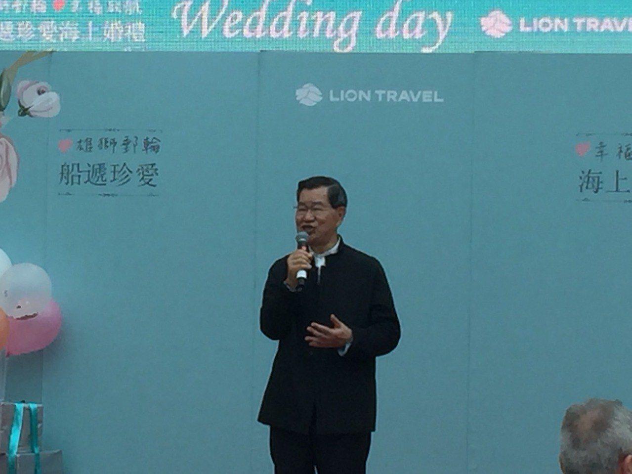 前副總統蕭萬長出席郵輪婚禮,台下掌聲不斷。記者羅建怡/攝影