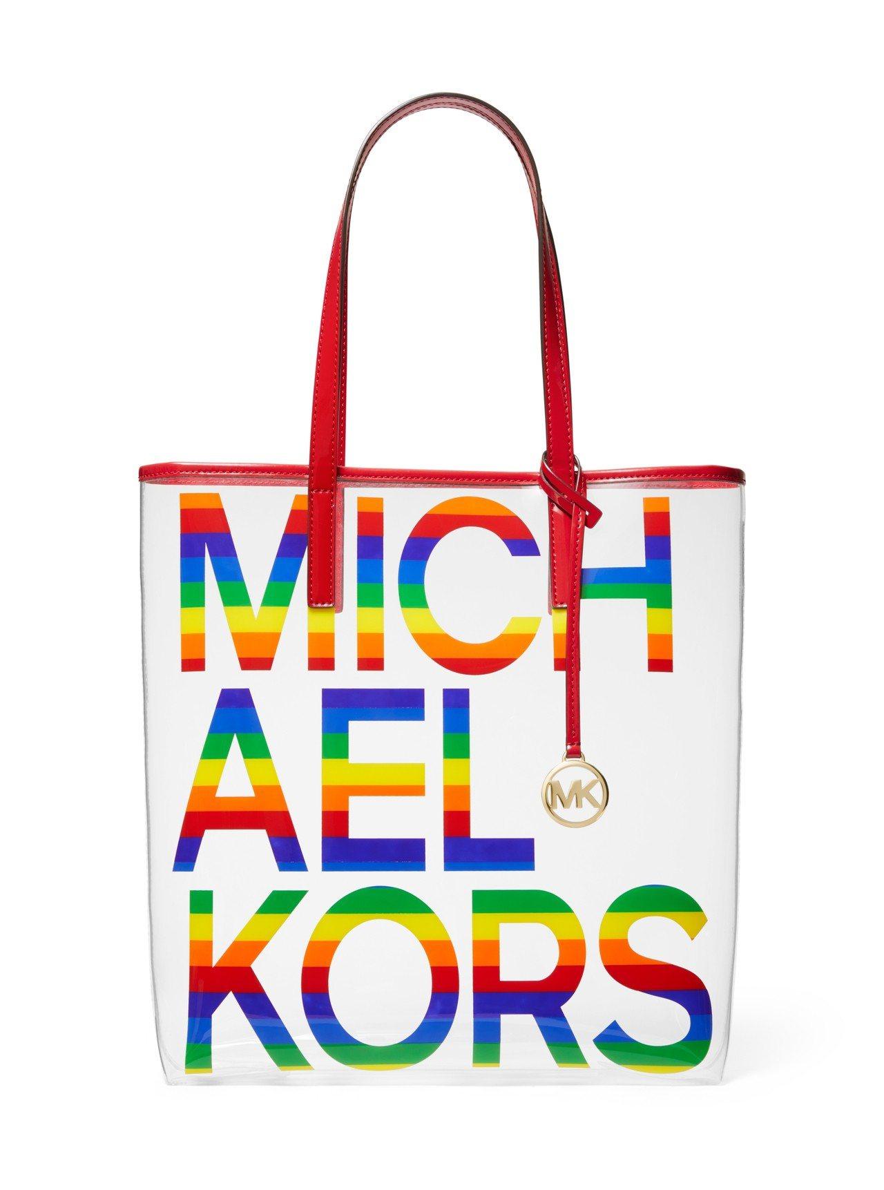 MMK彩虹系列透明托特包,售價7,000元。圖/MICHAEL KORS提供