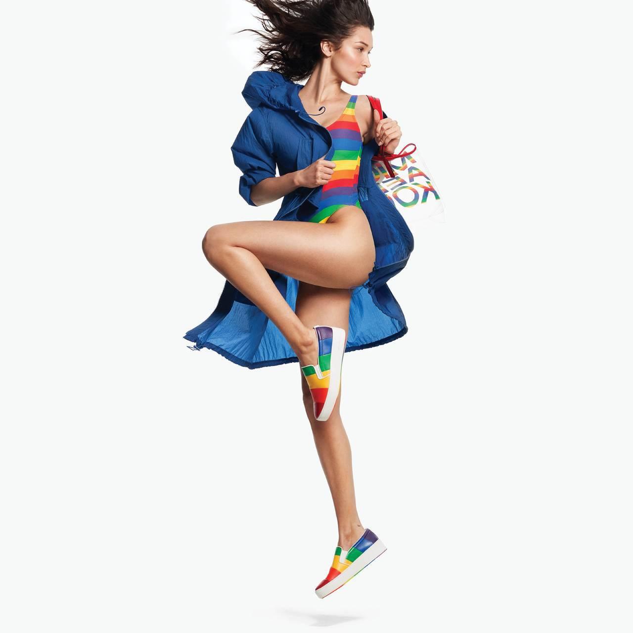 超模貝拉哈蒂德為MMK夏季彩虹系列拍攝形象大片,綻放繽紛活力。圖/MICHAEL...