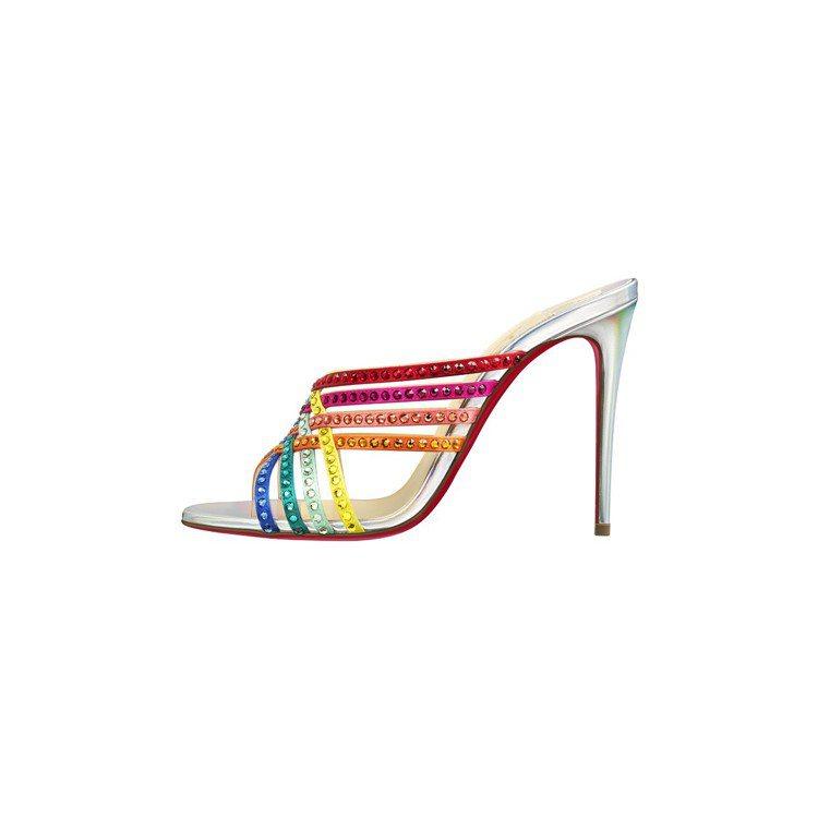 Christian Louboutin彩虹鉚釘涼鞋,售價39,900元。圖/Ch...