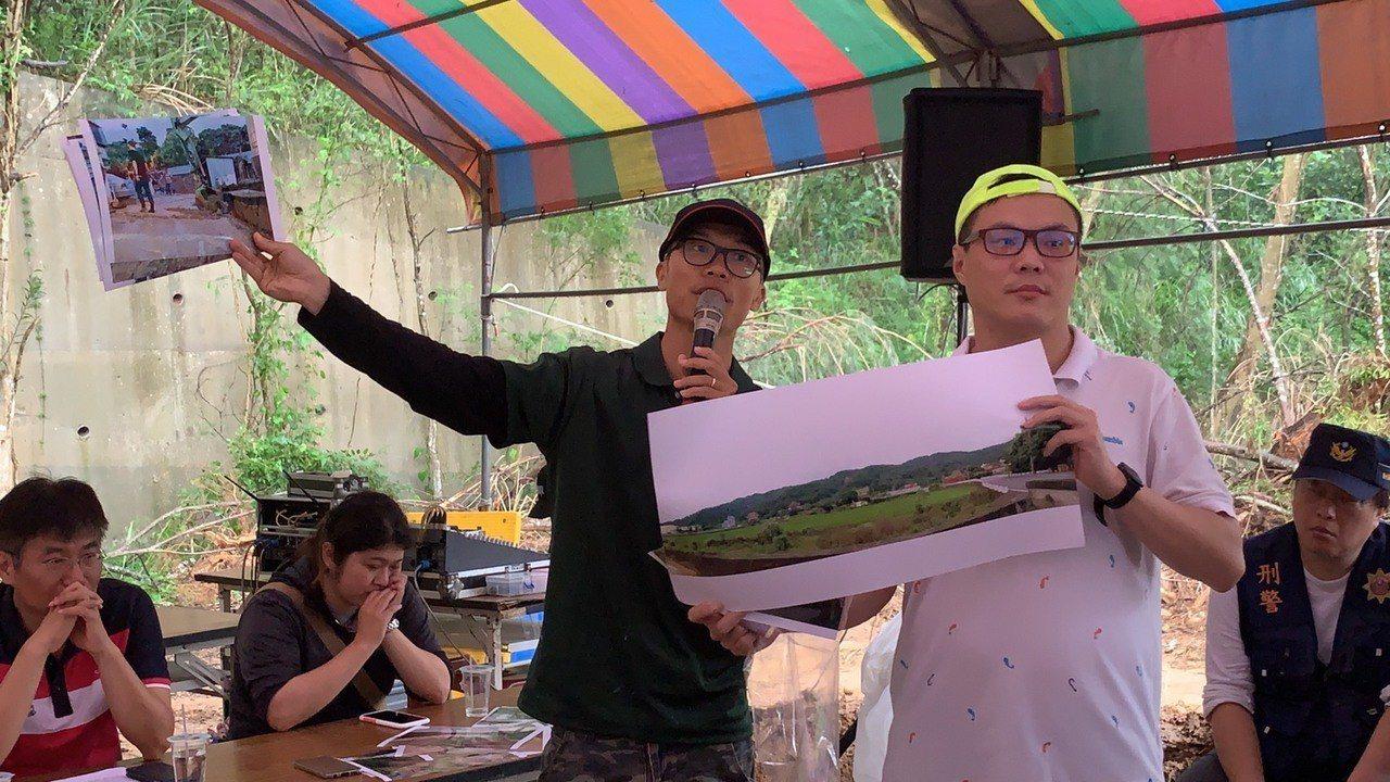 自救會成員大義里長曾台安(左)表示,此案環境爭議除了位於鳳崎步道入口旁,曾發生過...