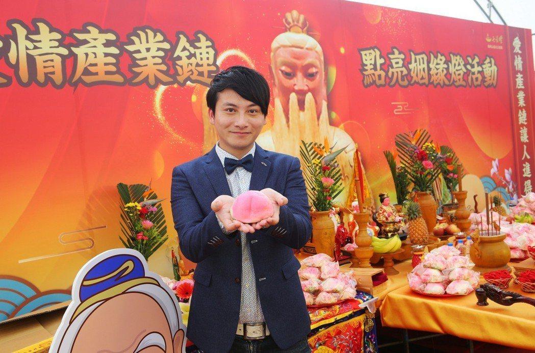 孟澔擔任高雄姜太公道場的姻緣大使。圖/弗利思特提供