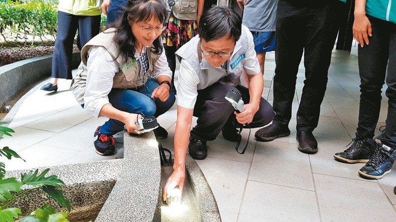 生態防蚊師昨到金澤21社區診斷蚊蟲孳生源,並建議改善方式,例如排水孔加裝細鋼網。 記者黃瑞典/攝影