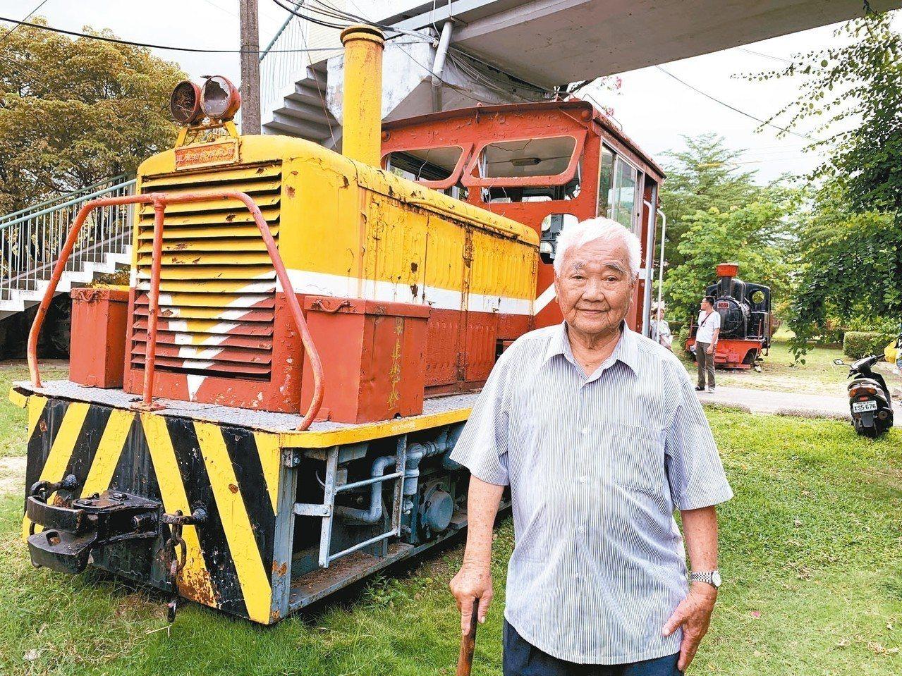 92歲糖鐵司機陳景春昨出席慶生活動。 記者吳淑玲/攝影
