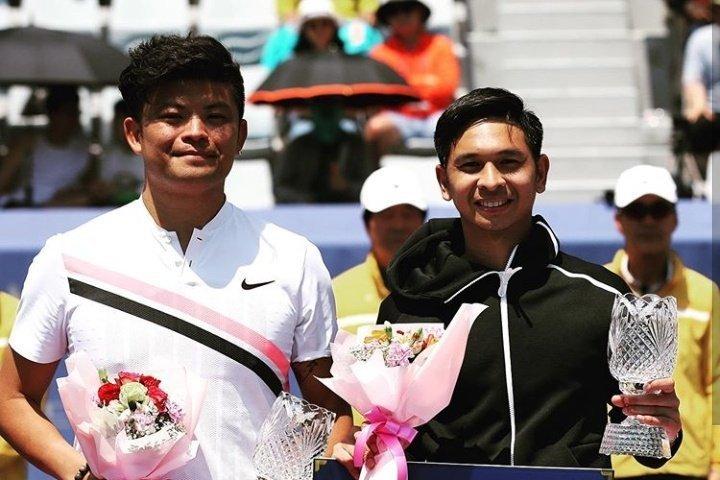 謝政鵬與印尼搭檔再度奪冠。 擷圖自TennisUpdateINA(釜山站資料照)