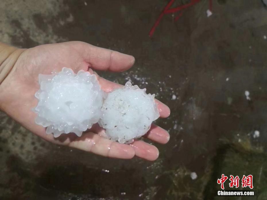 北京通州17日下起冰雹,冰雹個頭一次比一次大。 圖/取自中新網