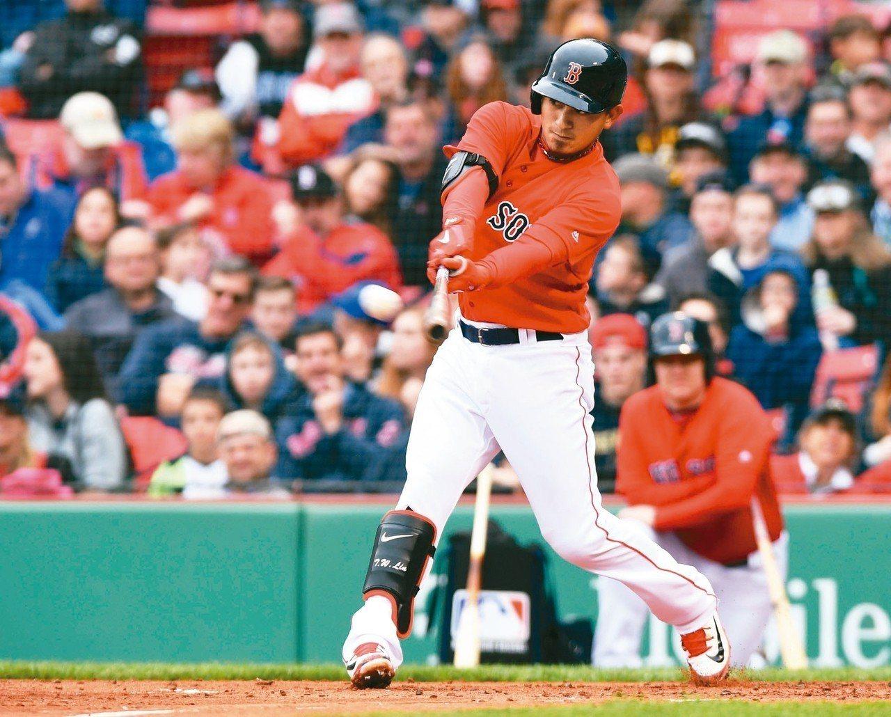波士頓紅襪旅美選手林子偉今天在小聯盟3A復健賽,3打數敲出1支二壘安打,還包辦追...