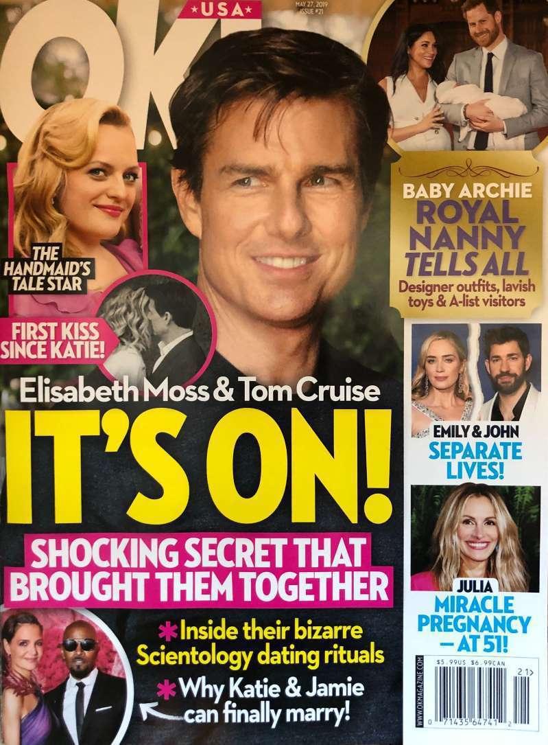 湯姆克魯斯傳與艾美、金球雙料視后伊麗莎白摩絲約會中。圖/摘自OK!