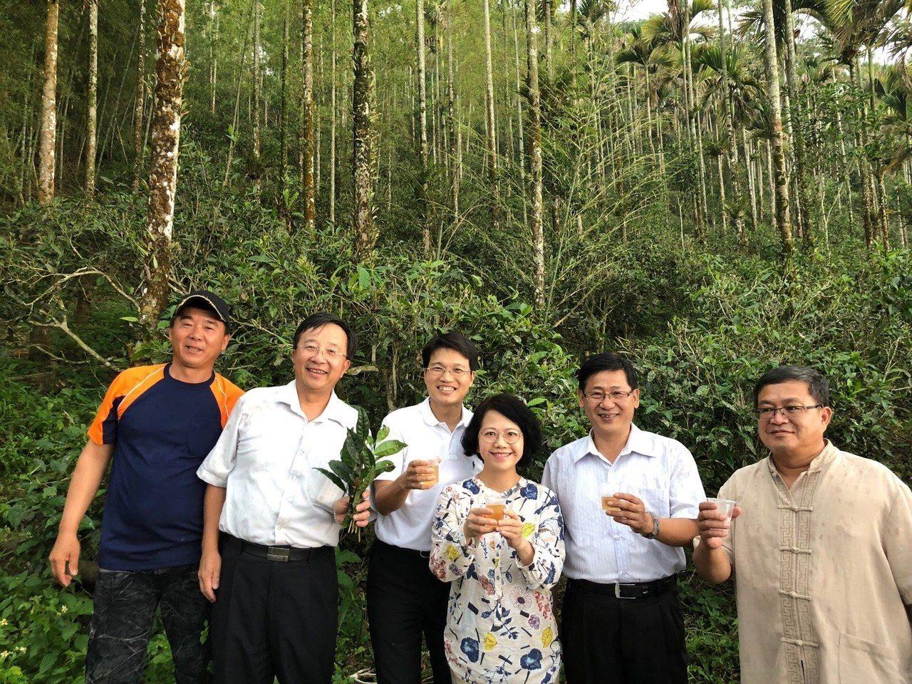 茶改場場長李紅曦(右三)南下六龜,了解台灣山茶的發展情況。圖/高雄市農業局提供