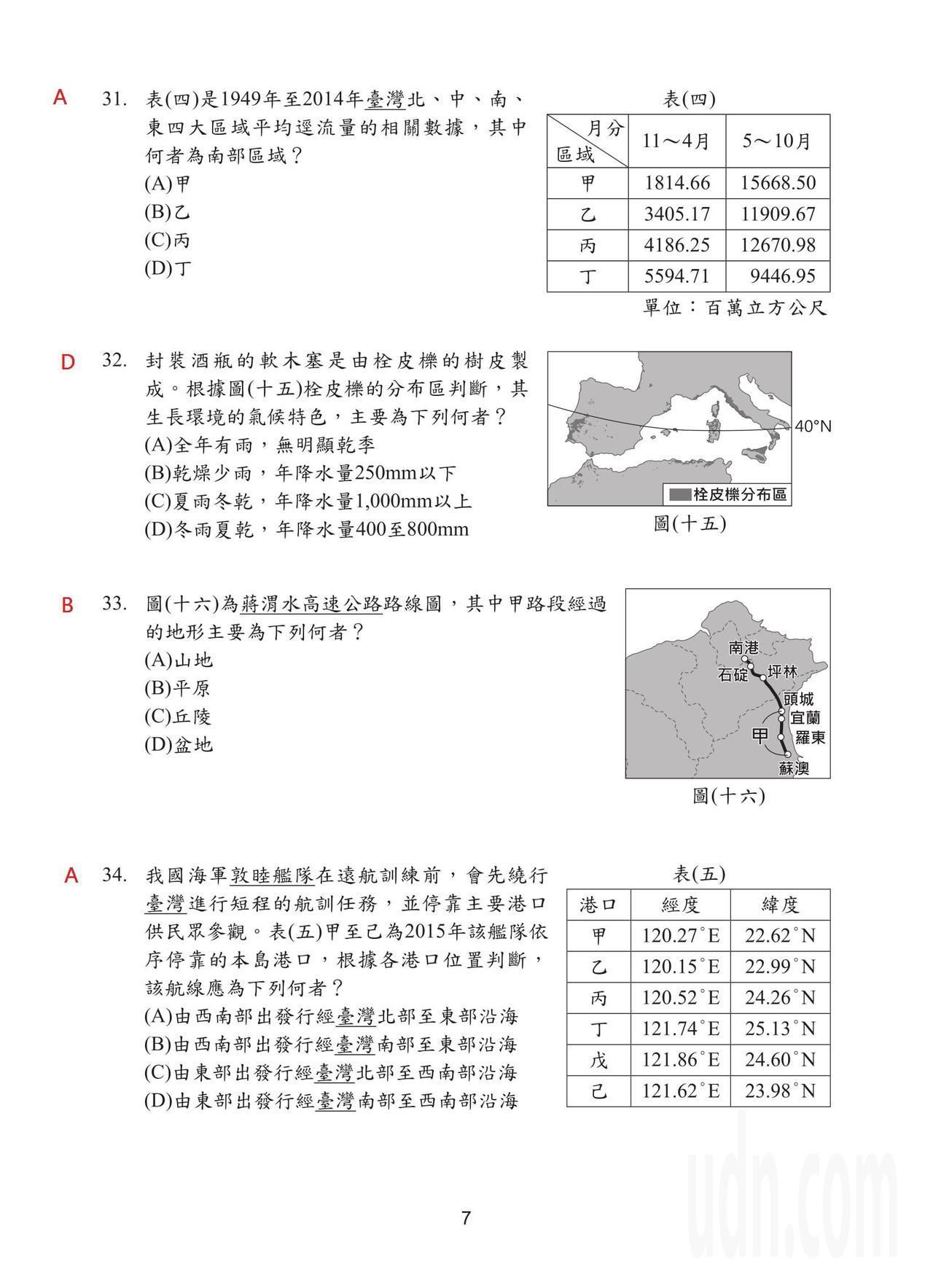 108國中會考社會科試題解答,第7頁。
