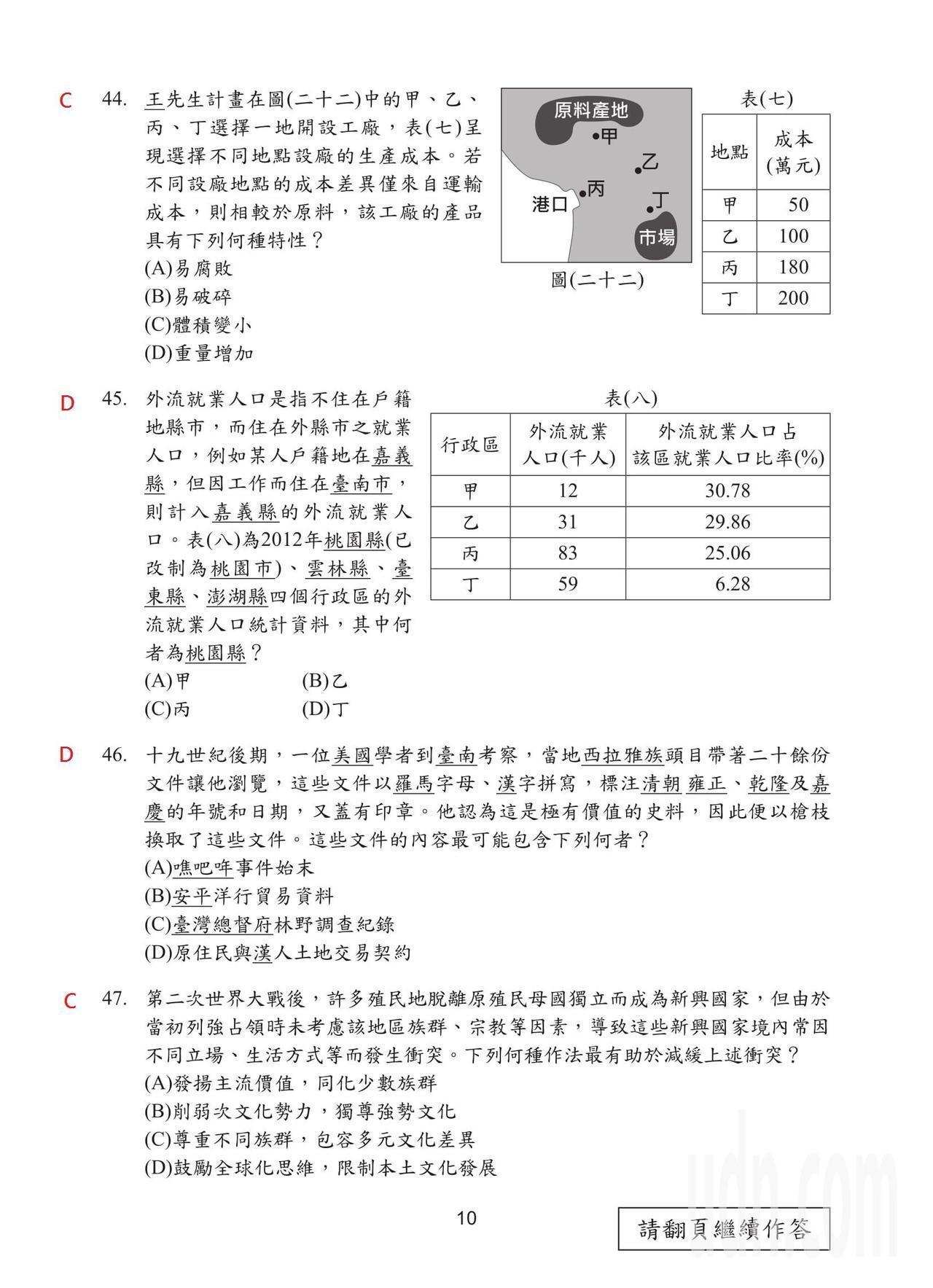 108國中會考社會科試題解答,第10頁。