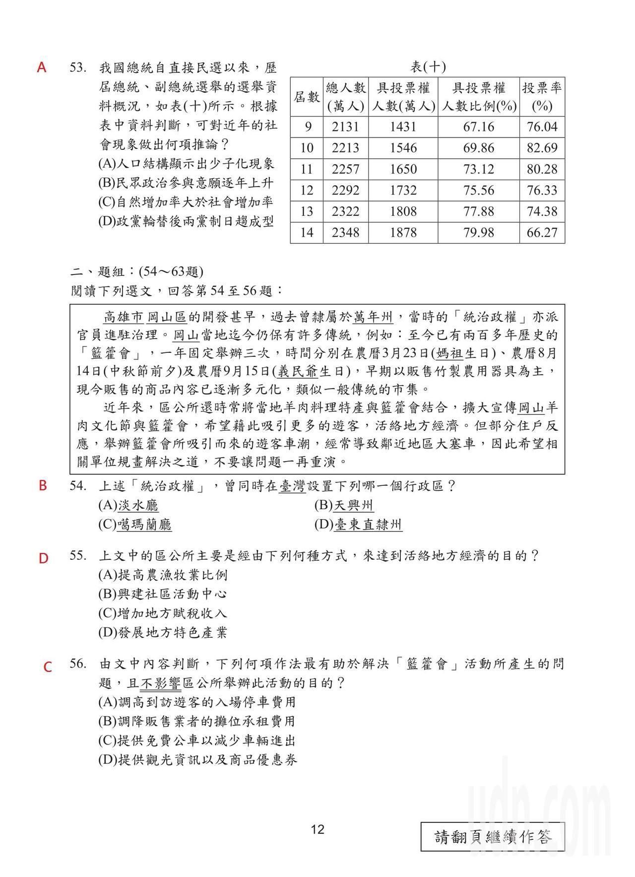108國中會考社會科試題解答,第12頁。