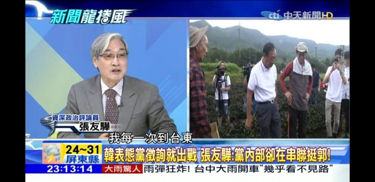 張友驊上政論節目「新聞龍捲風」。圖/取自網路