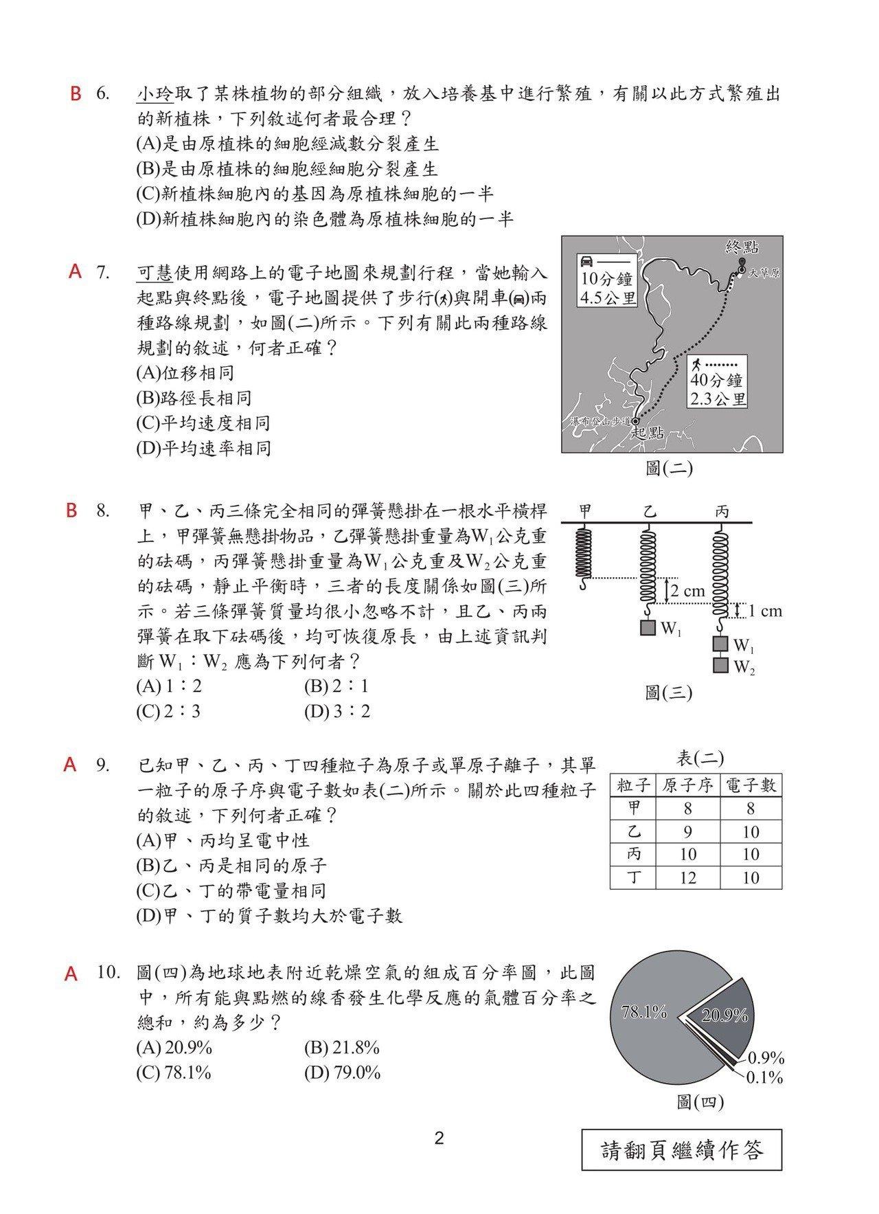 108國中會考自然科試題解答,第2頁。