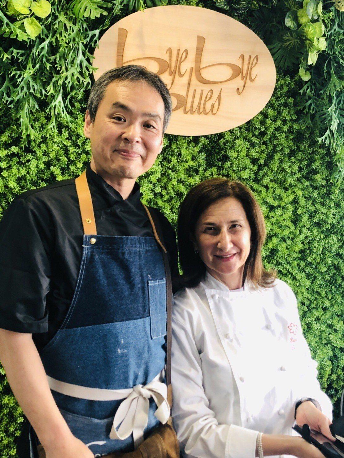蟬聯十年榮獲米其林星廚的派翠西亞(右)與副主廚YUKI(左),一起來台展店。圖/...