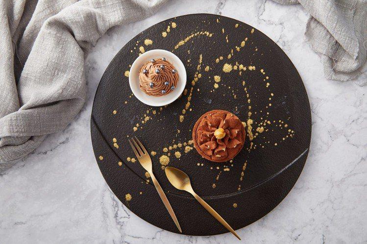 「榛果巧克力塔」使用比利時進口榛果醬,加入杏仁角、有著甜脆的口感。圖/bye b...