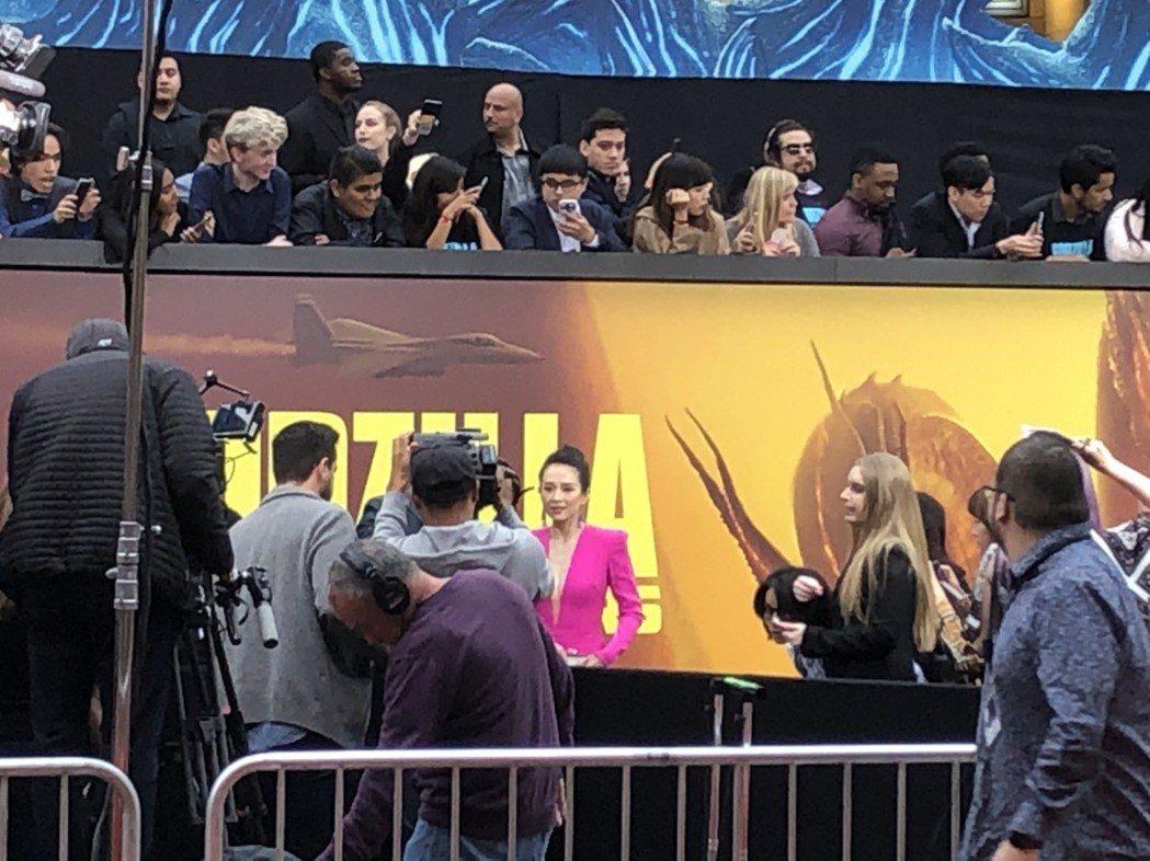 章子怡現身「哥吉拉II怪獸之王」洛杉磯首映會。記者陳建嘉攝