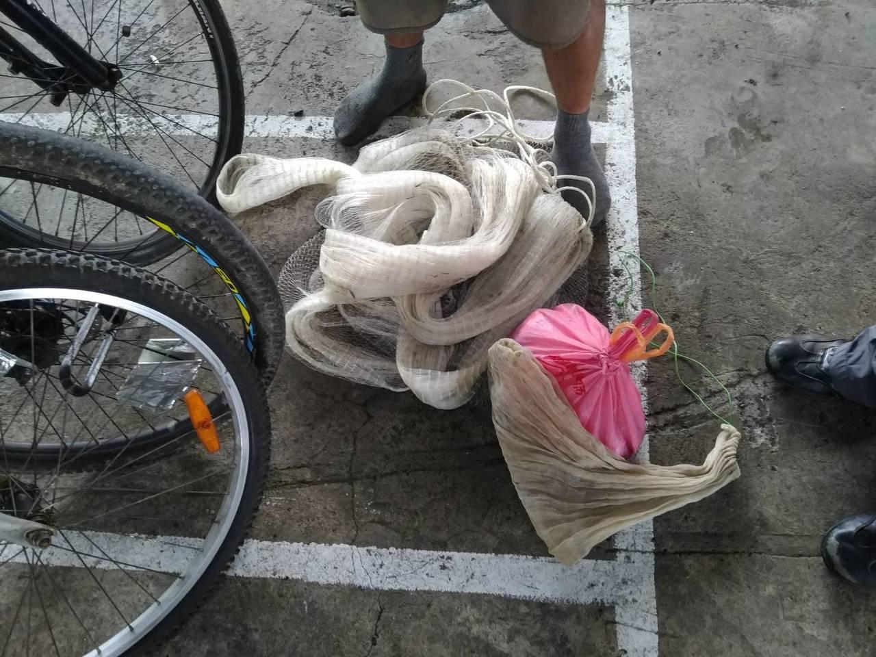 泰籍移工捕魚用的漁網。記者林昭彰/翻攝