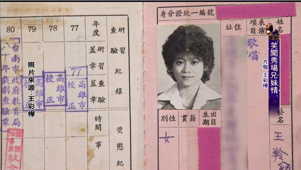 王彩樺18歲時考取的歌星證。圖/年代提供