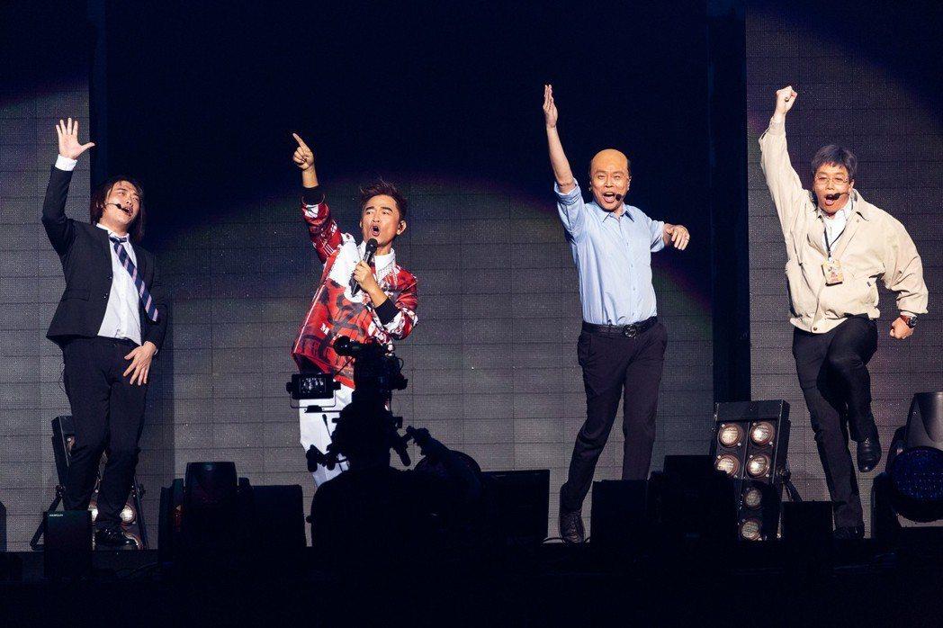吳宗憲(左二)邀來阿虎、卡古、無尊合作政治人物模仿秀。圖/華貴娛樂提供