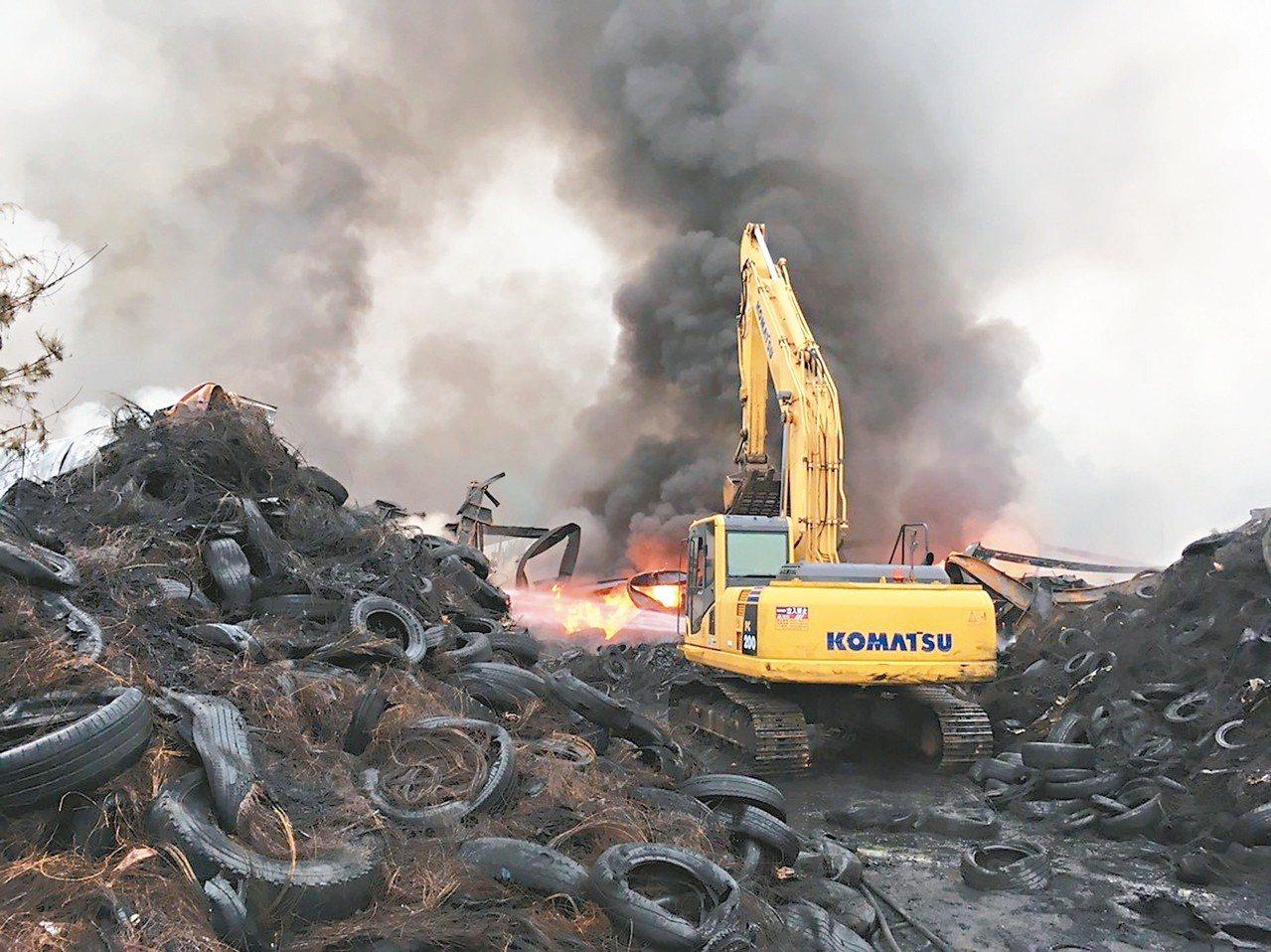 台中市后里廢輪胎堆置場日前大火,產生嚴重空汙。 圖/聯合報系資料照片