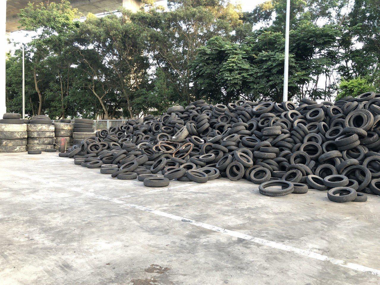 台灣兩年多前就已爆發出廢輪胎去化問題。記者林敬家/攝影