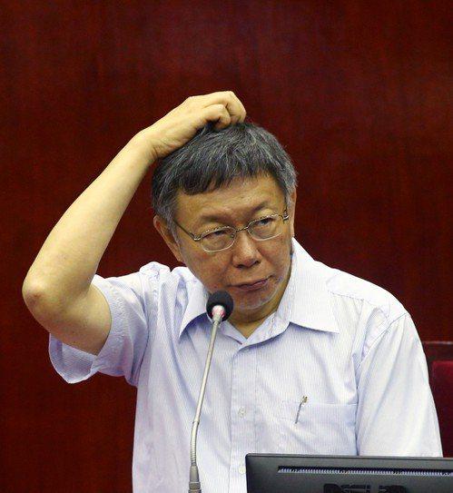 台北市長柯文哲到議會專案報告。 記者蘇健忠/攝影
