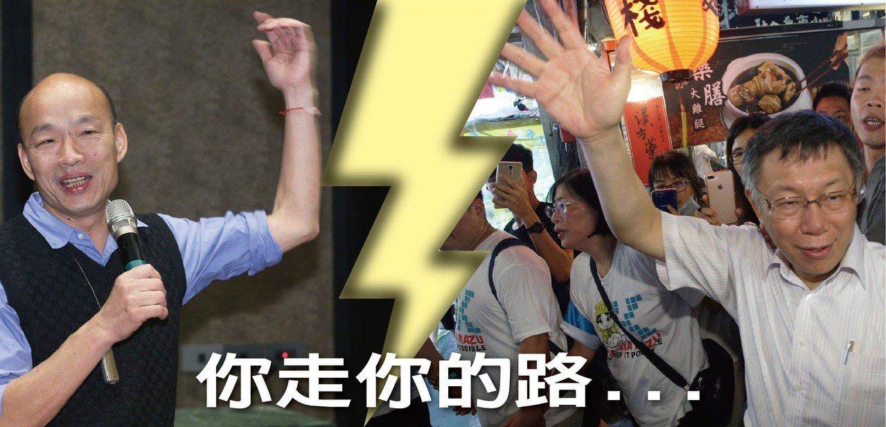 高雄市長韓國瑜(左圖)、台北市長柯文哲(右圖)曾在台北市攜手對抗民進黨,未來是否...
