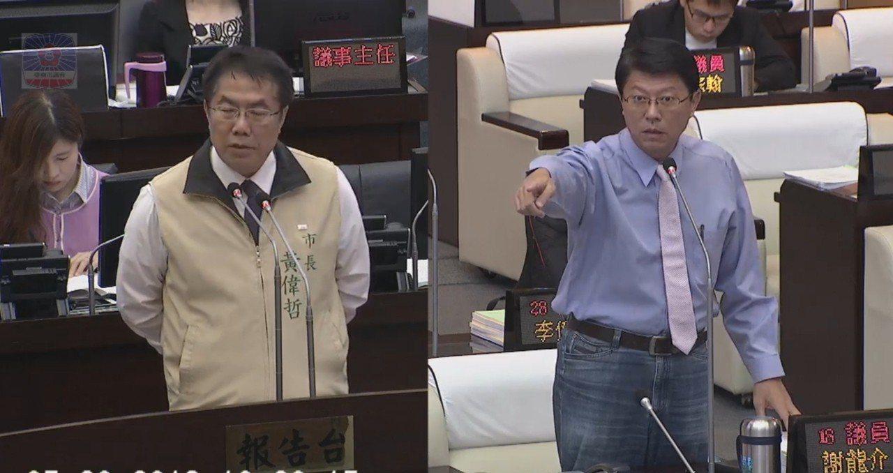 台南市議員謝龍介(右)上午總質詢,向市長黃偉哲提出空鐵的建議。記者修瑞瑩/攝影