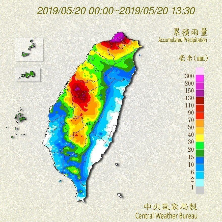 全台日累積雨量圖。圖/取自氣象局網站