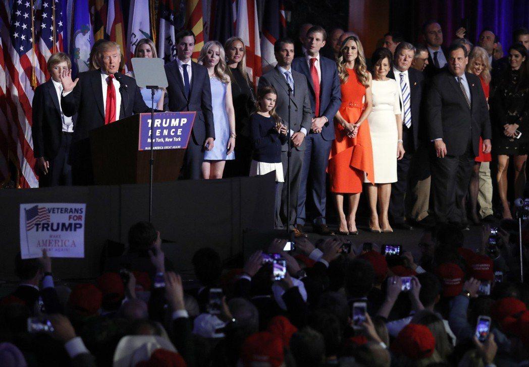 2016年美國大選再次出現媒體與民調集體失準情形,最終由川普勝出。圖為川普當選之...