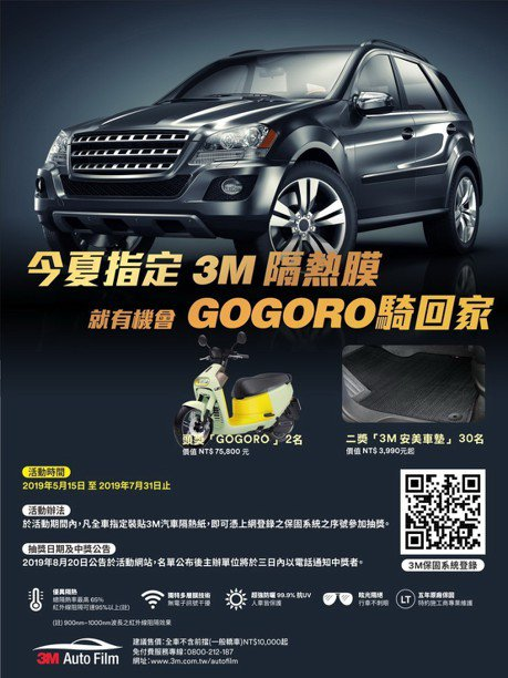 3M推出夏季促購活動 抽最新Gogoro 3 Plus電動機車