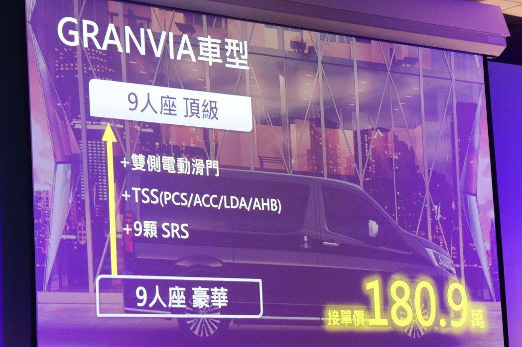 9人座頂級型接單價180.9萬。 記者陳威任/攝影
