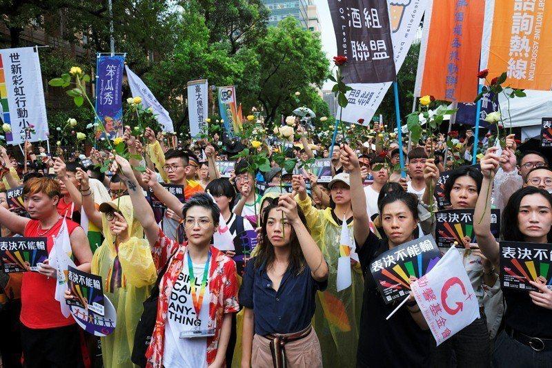 支持婚姻平權民眾高舉玫瑰花,表達同志要結婚的訴求。 圖/路透社