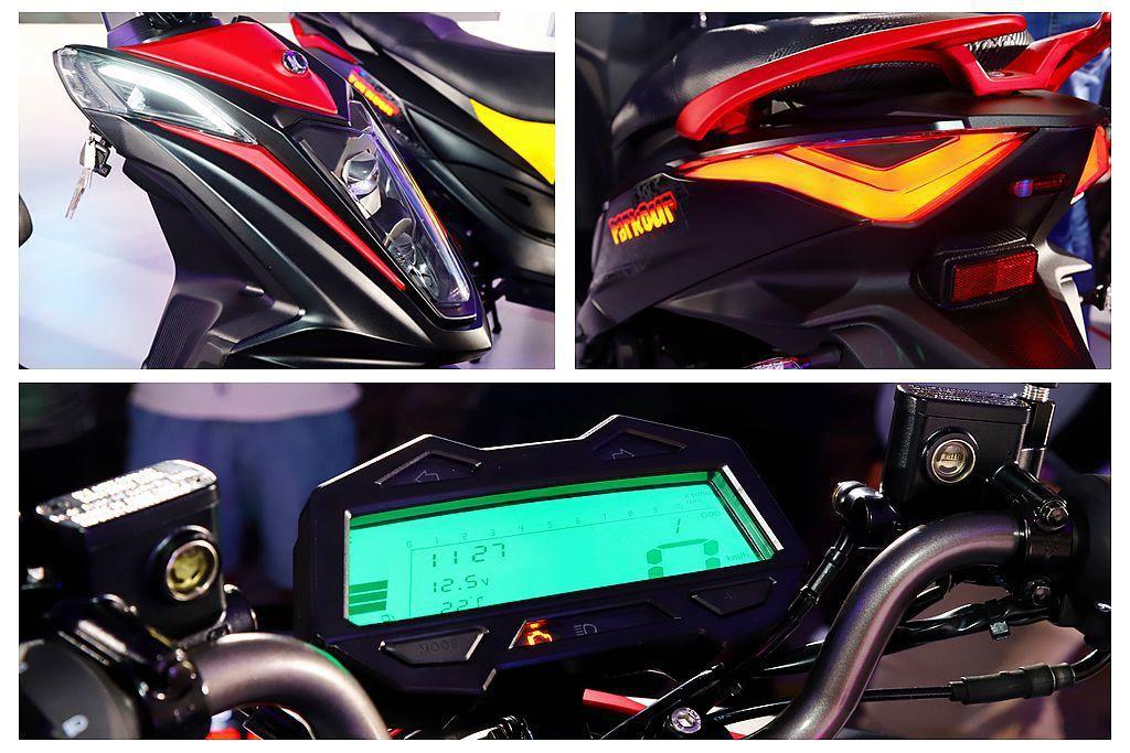 光陽Parkour跑酷125配備獨特的豹眼式大燈,LED造型後尾燈以及可自行更換...