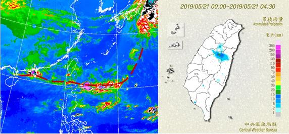 今晨鋒面對流雲帶已南移巴士海峽,台灣上空殘餘薄的層狀雲(圖左),帶來零星少量降雨...
