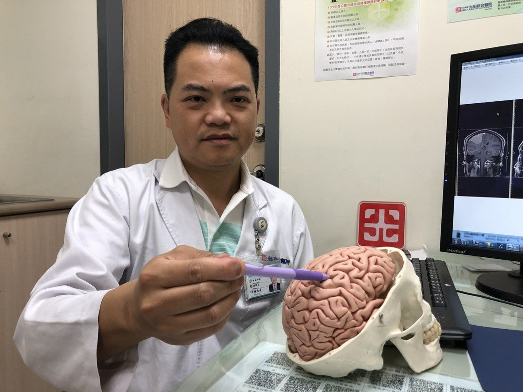 光田綜合醫院醫師說明,患者腫瘤位置。圖/光田醫院提供