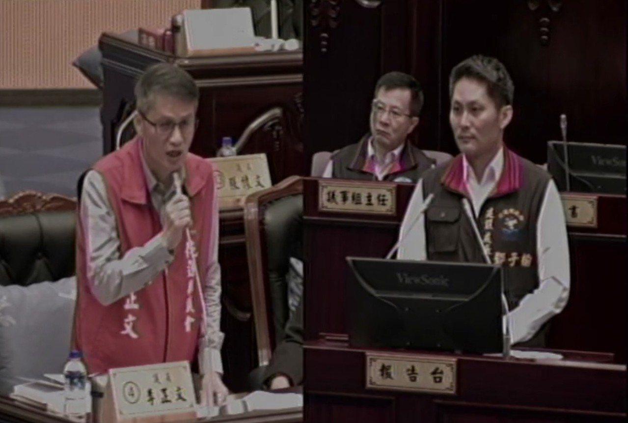 花蓮縣議員李正文(左)今天就花蓮轉運站一事,質詢建設處長鄧子榆。記者王燕華/翻攝