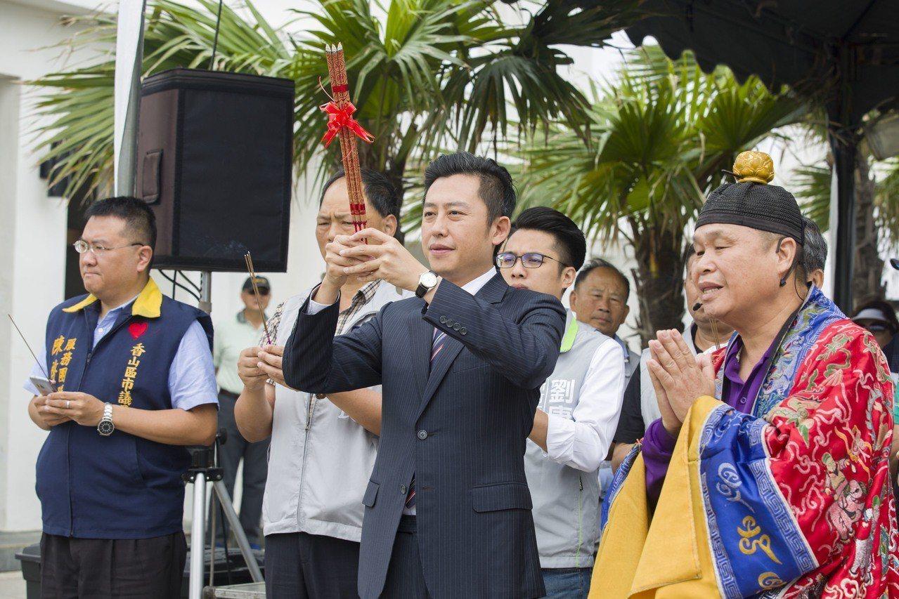 新竹市長林智堅今天主持龍舟賽祈福暨點睛淨港儀式。圖/新竹市府提供
