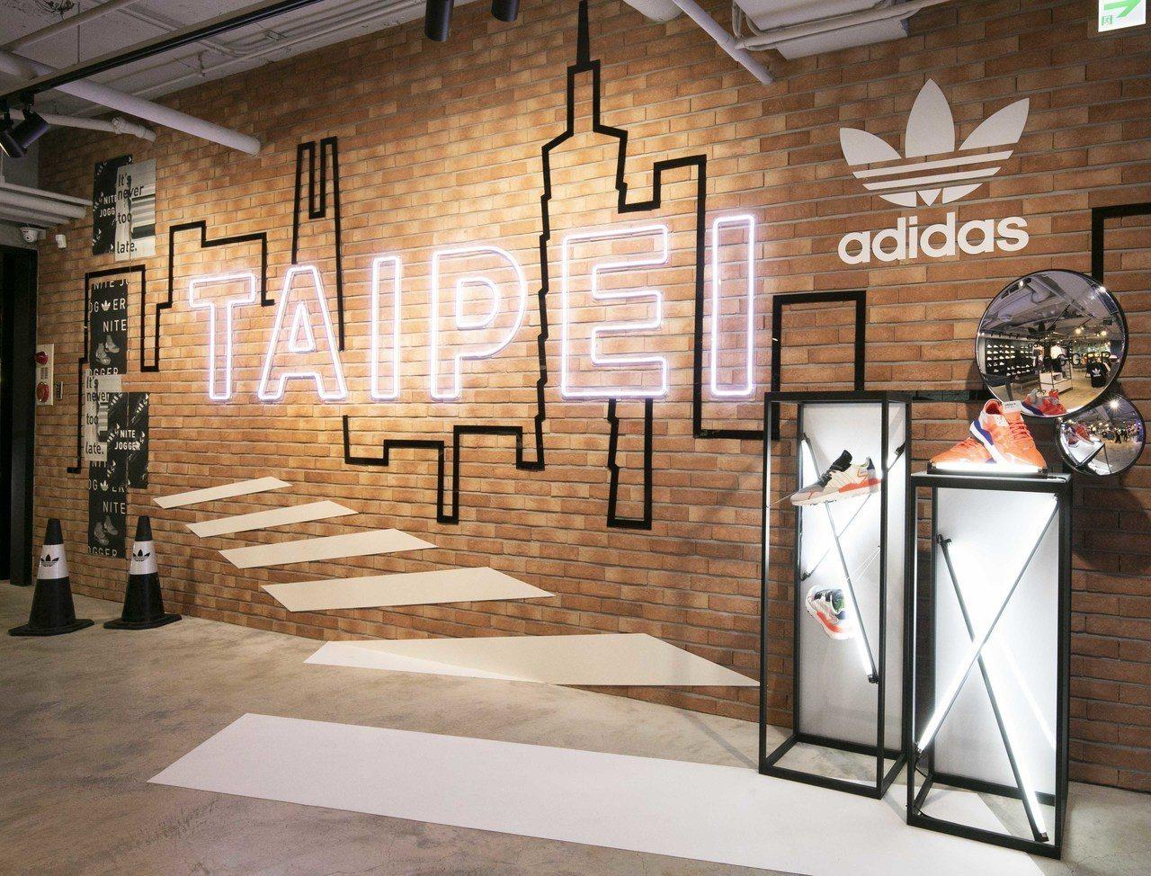 adidas Originals忠孝經典門市期間限定紅磚牆。圖/adidas提供