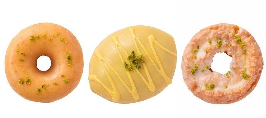 檸檬糖霜甜甜圈(左)售價42元;檸檬卡士達夾心貝(中)、檸檬糖霜蛋糕(右)售價5...
