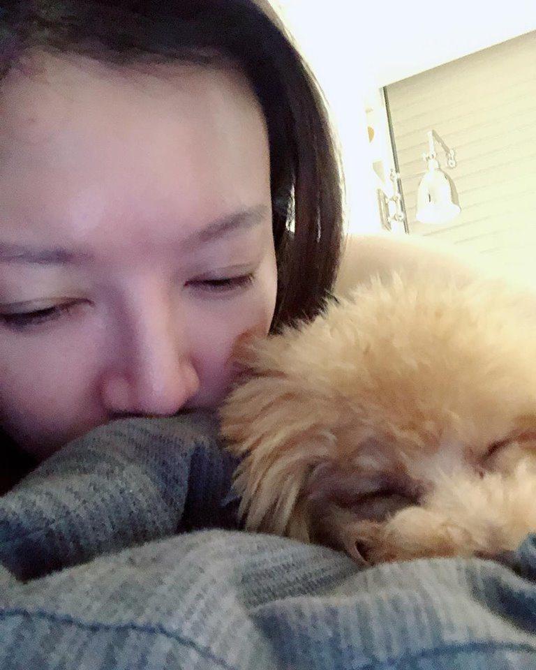 李杏無法想像愛犬有一天會過世。圖/摘自臉書