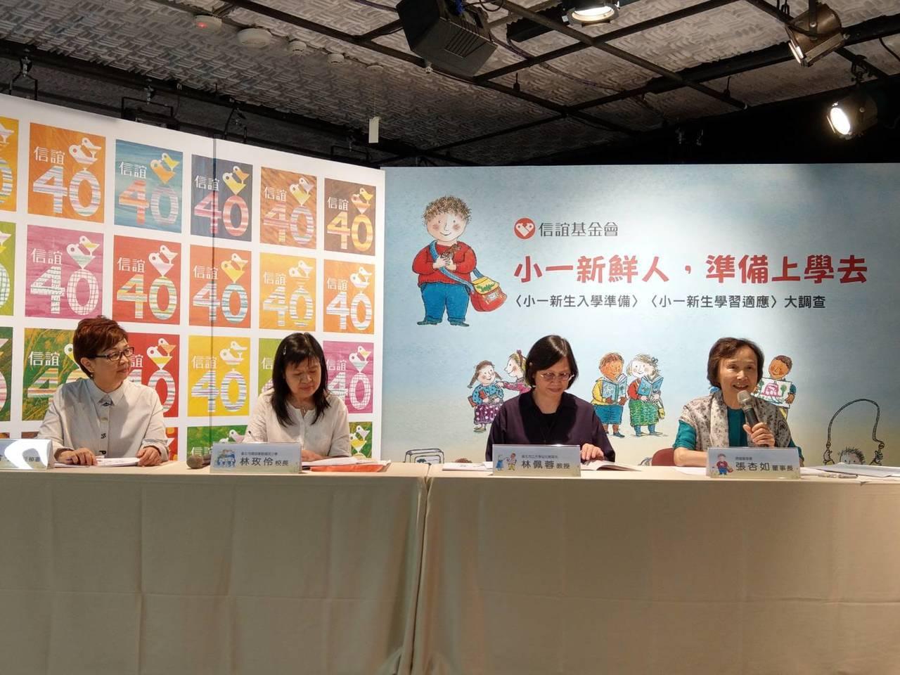 信誼基金會下午發表小一生入學準備、適應問卷調查結果,發現逾9成家長讓孩子提前學注...